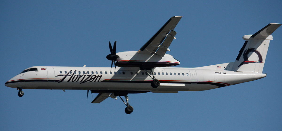 A Horizon Q400 like the one stolen by Richard Russell, the Seatle plane thief.