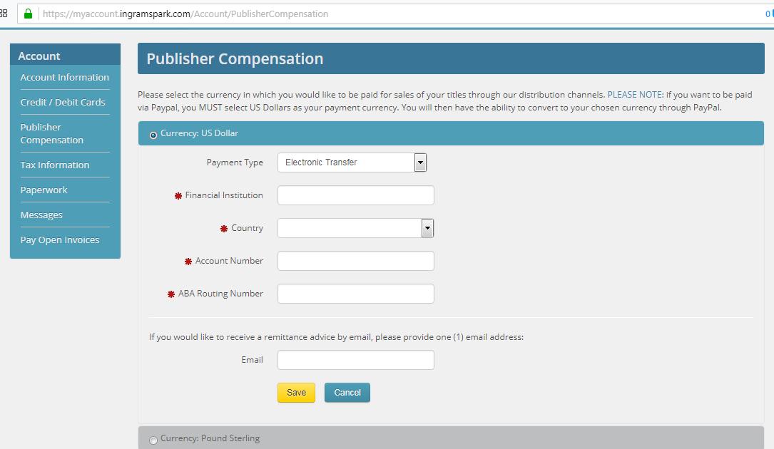 Ingram Spark Publisher Compensation Setup Page