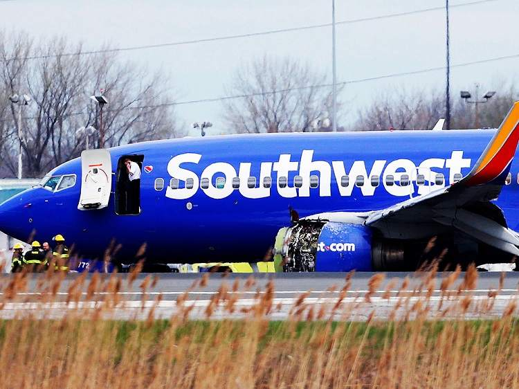 Southwest Flight 1380 after an engine failure caused its emergency landing in Philadelphia, April 17th, 2018.