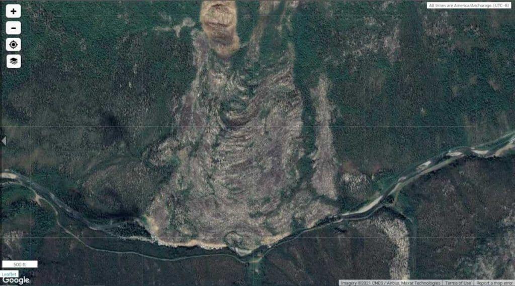Landslide North of Marion Creek. Satellite image © 2021 CNES / Airbus, Maxar Technologies